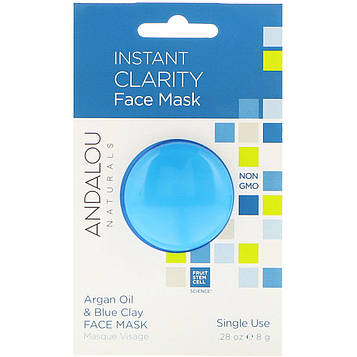 Andalou Naturals, Мгновенное очищение, маска для лица, масло арганы и голубая глина, 0,28 унции (8 г)