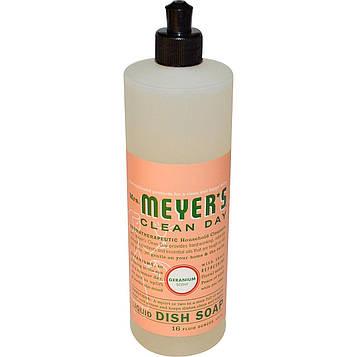 Mrs. Meyers Clean Day, Жидкое мыло для мытья посуды с ароматом герани, 16 жидких унций (473 мл)