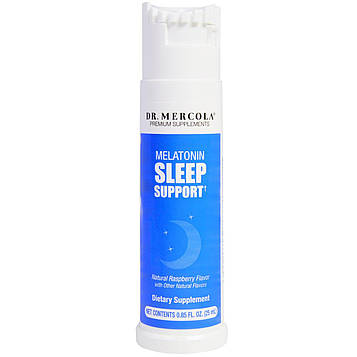 Dr. Mercola, поддержка сна с мелатонином, малиновый ароматизатор, 0,85 жидких унций (25 мл)