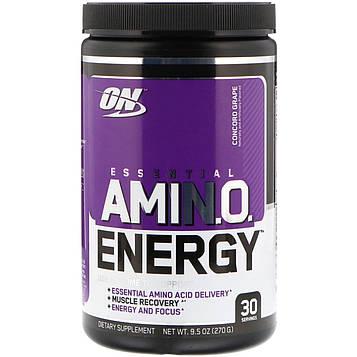 Optimum Nutrition, Essential Amin.O. Energy, виноград сорта Конкорд, 9,5 унц. (270 г)