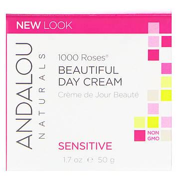 Andalou Naturals, Дневной крем для чувствительной кожи,  1000 роз,  1.7 унций (50 мл)