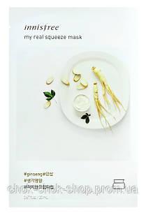 Листовая маска на кремовой основе с экстрактом женьшеня, INNISFREE My Real Squeeze Mask Ginseng