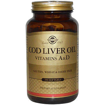 Solgar, Рыбий жир, витамин А и D, 250 капсул