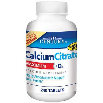 21st Century, Цитрат кальция, максимум, +D3, 240 таблеток