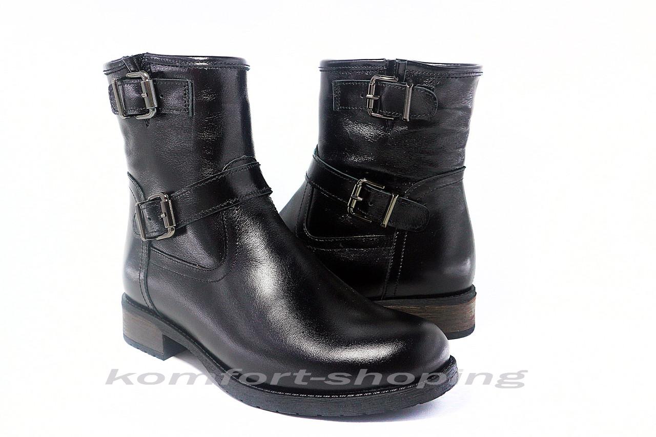 Ботинки женские черные кожаные  V 1207