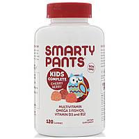 SmartyPants, Kids Complete, Мультивитамины, Омега 3 Рыбий жир, Витамин D3 и B12, Вишня, 120 жевательных таблеток