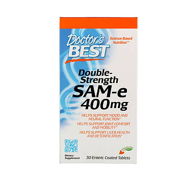 Doctors Best, Double-Strength SAM-e (Двойная сила, S-аденозилметионин), 400 мг, 30 таблеток, покрытых кишечнорастворимой оболочкой