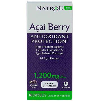 Natrol, Ягоды Асаи, Антиоксидантная защита , 1 200 мг, 60 капсул