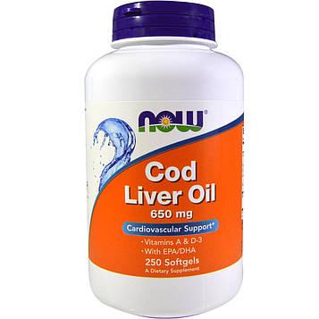 Now Foods, Рыбий жир, двойная сила, 650 мг, 250 капсул