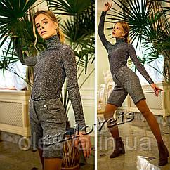 Новинки для подростков Тёмно-Серый гольф с люрексом и шорты из букле Размеры 140- 170 TM LOVEIS