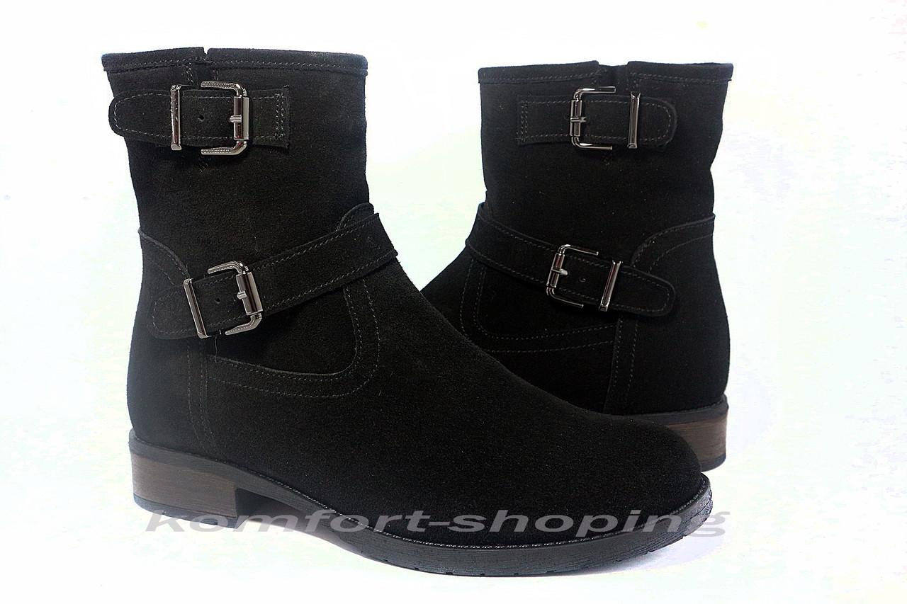 Ботинки женские черные  замшевые  V 1207