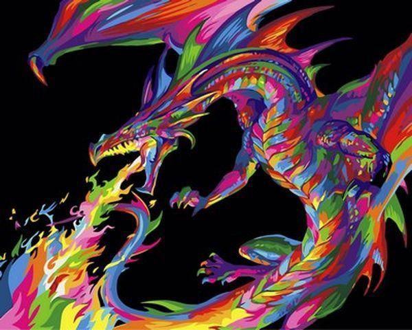 Картины по номерам 40×50 см. Радужный дракон
