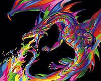 Картины по номерам 40×50 см. Радужный дракон, фото 1
