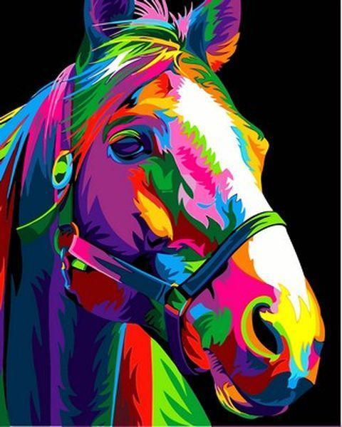 Картины по номерам 40×50 см. Радужный конь