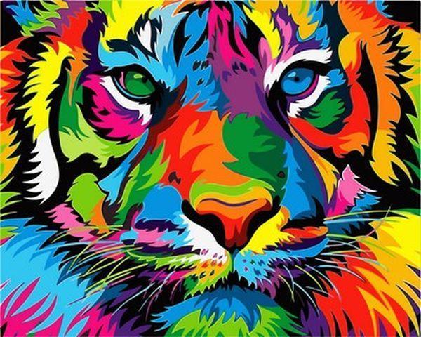 Картины по номерам 40×50 см. Радужный тигр