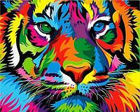 Картины по номерам 40×50 см. Радужный тигр, фото 1