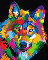 Картины по номерам 40×50 см. Радужный волк, фото 1