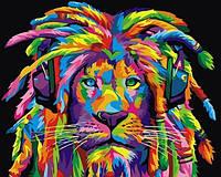 Картины по номерам 40×50 см. Радужный раста лев , фото 1