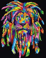 Картины по номерам 40×50 см. Радужный раста лев 2, фото 1