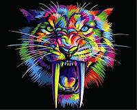 Картины по номерам 40×50 см. Радужный саблезубый тигр, фото 1