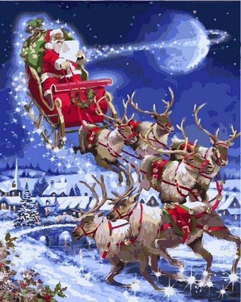 Картины по номерам 40×50 см. Санта-Клаус Художник Ричард Макнейл