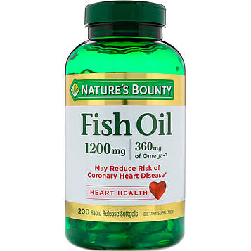 Natures Bounty, Fish Oil, 1,200 mg, 200 Rapid Release Softgels