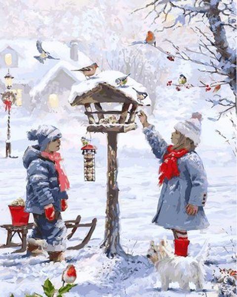 Картины по номерам 40×50 см. Кормление птиц Художник Ричард Макнейл