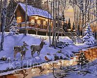 Картины по номерам 40×50 см. Домик в зимнем лесу Художник Ричард Макнейл, фото 1