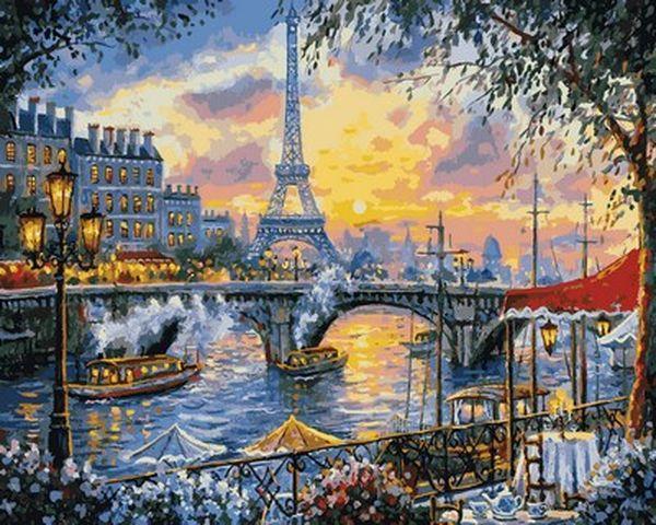Картины по номерам 40×50 см. Чаепитие в Париже
