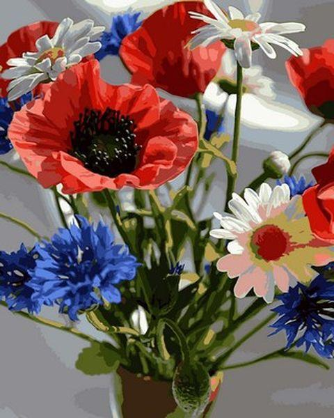Картины по номерам 40×50 см. Букет полевых цветов
