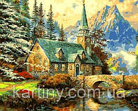 Картины по номерам 50×65 см. Альпийский пейзаж Часовня Художник Томас Кинкейд, фото 1