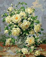 Картины по номерам 50×65 см. Букет белых роз Художник Уильямс Альберт, фото 1