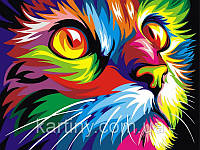 Картины по номерам 50×65 см. Радужный кот Художник Ваю Ромдони