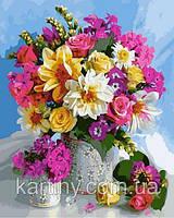 Картины по номерам 50×65 см. Яркие цветы в большой и маленькой вазах