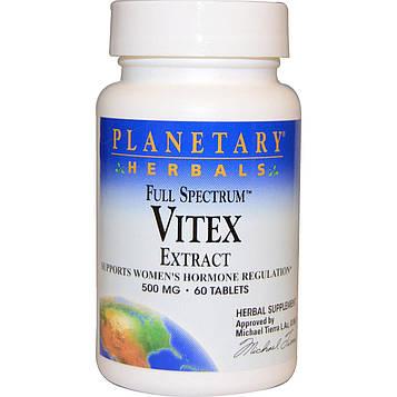 Planetary Herbals, Полный спектр, экстракт витекса, 500 мг, 60 таблеток