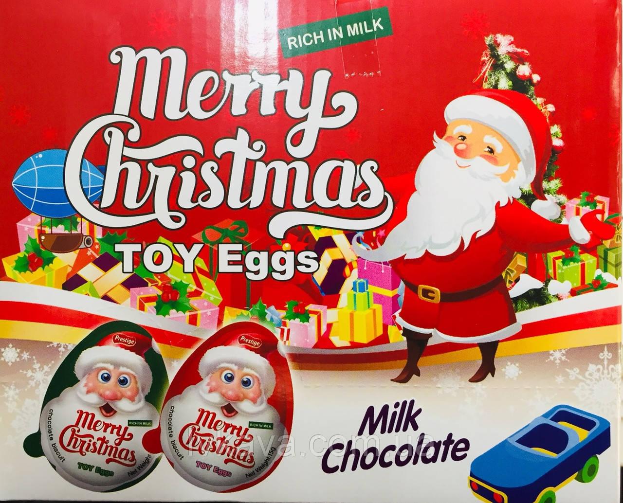 Яйцо-игрушка Merry Christmas c печеньем в глазури, 15 g X 24 шт