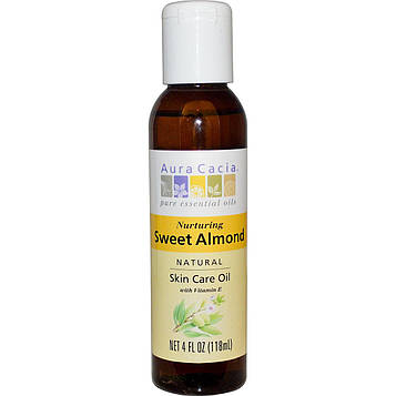 Aura Cacia, Натуральное масло для ухода за кожей с витамином Е, Питательное масло сладкого миндаля, 4 жидких унции (118 мл)