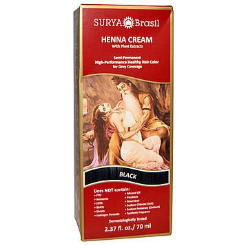Surya Henna, Крем с хной, краска и кондиционер для волос, чёрный цвет, 70 мл