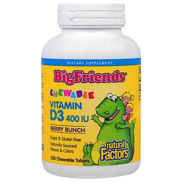 Natural Factors, Большие друзья, жевательный витамин D3 с ягодным вкусом, 400 МЕ, 250 жевательных таблеток