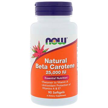 Now Foods, Натуральный бета-каротин, 25 000 МЕ, 90 мягких таблеток