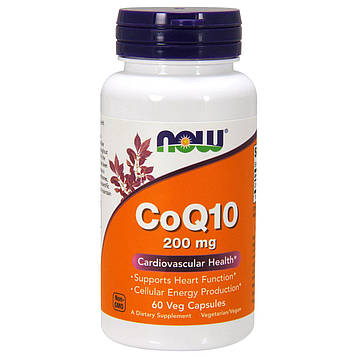 Now Foods, CoQ10, 200 мг, 60 веганских капсул