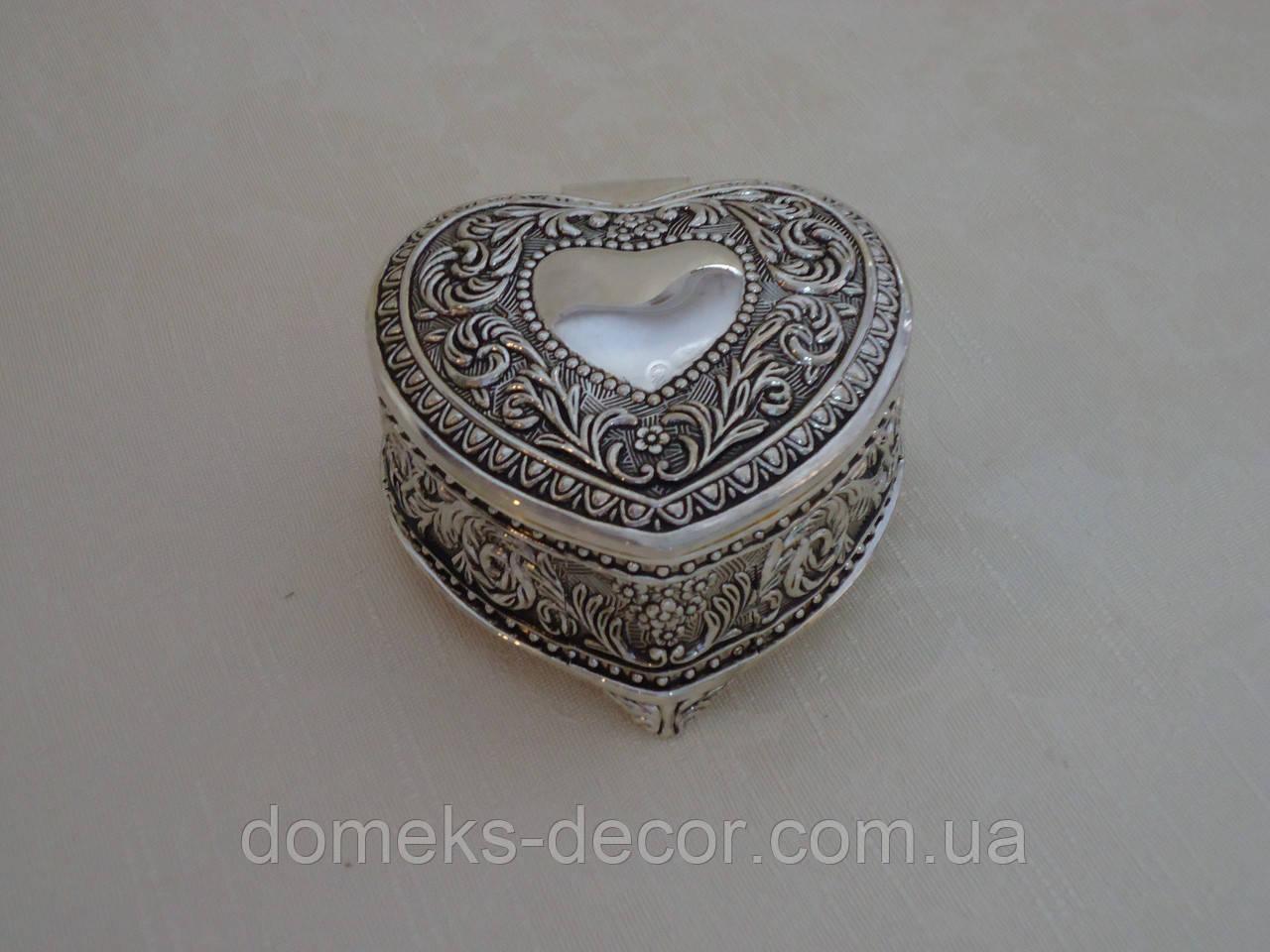 Шкатулка из мельхиора сердце, фото 1