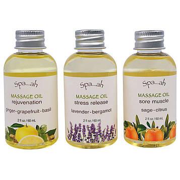 Smith & Vandiver, Spa…ah, набор-пробник масел для массажа, набор из 3 шт. по 2 жидких унции (60 мл)