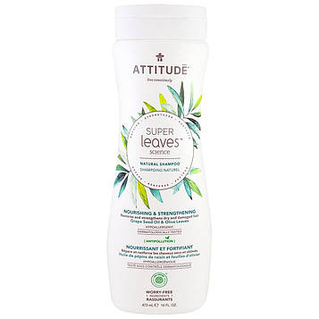 ATTITUDE, Super Leaves Science, натуральный шампунь, питающий и укрепляющий, масло виноградной косточки и оливковые листья, 16 унций (473 мл)