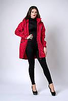 Женская молодежная парка. Код модели ПЛ-08-61-19. Цвет красный джинс.