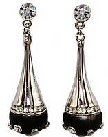 Серьги-гвоздики. Цвет: серебряный. Инкрустация: белый циркон. Высота серьги: 5 см. Ширина: 15 мм.
