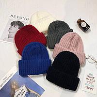 Вязанная шапка с двойным отворотом ( теплая женская шапка)