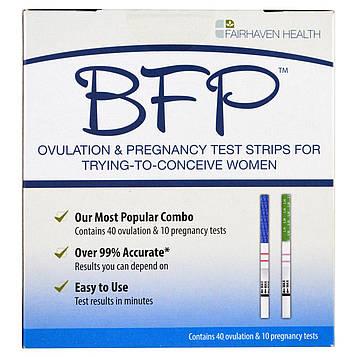Fairhaven Health, BFP, полоски для тестирования на беременность и овуляцию для женщин, старающихся забеременеть, 40 тестов на овуляцию и 10 тестов на