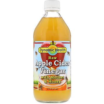 Dynamic Health  Laboratories, Непастеризованный органический яблочный уксус с уксусной маткой и медом, 473 мл (16 fl oz)