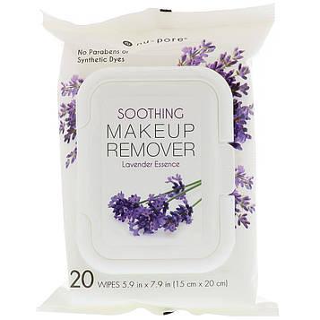 Nu-Pore, Смягчающее средство для снятия макияжа, эссенция лаванды, 20 салфеток